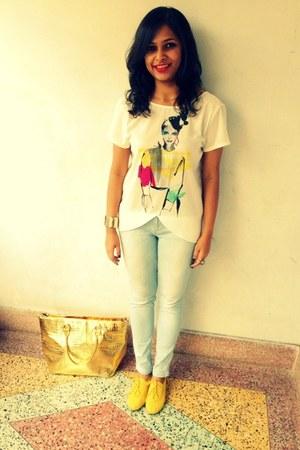 Zara top - Simpark Mall Calcutta shoes - denim Zara jeans