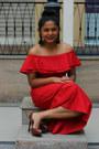 Brick-red-koovs-dress-dark-brown-zara-heels-black-h-m-earrings