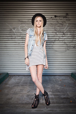 black obey hat - blue Hurley vest - white H&M dress - black Jeffrey Campbell sho
