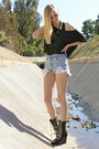 Blue-levis-shorts-black-jeffrey-campbell-wedges-black-crop-top-h-m-top