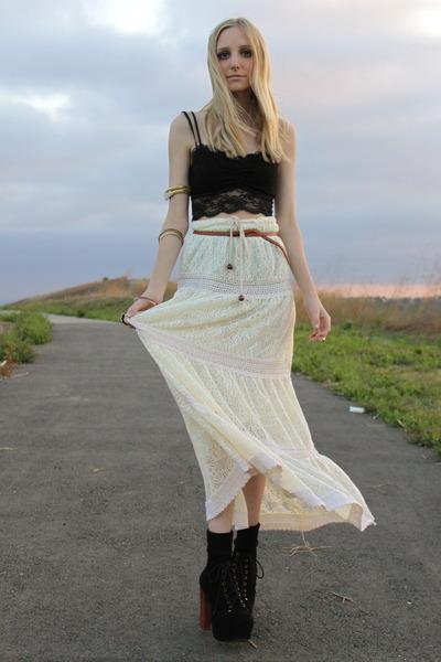 ivory lace maxi LA Mart skirt - black lace bralette Sound & Matter bra