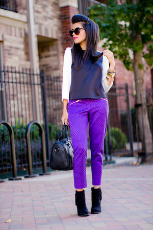 purple trousers Forever21 pants - black fringe detail Forever21 boots