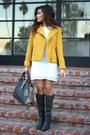 Dark-gray-just-fab-boots-white-zara-dress-mustard-greylin-collection-jacket