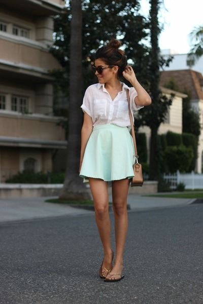 button down Zara shirt - aquamarine lookbookstore skirt