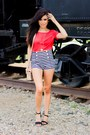 Navy-stripe-forever21-shorts-red-lanston-t-shirt-black-zara-sandals