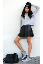 black leather Forever21 skirt - silver G by Guess shoes