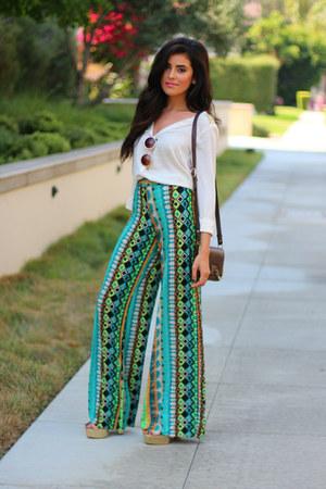 light brown Zara bag - round frame Vida Kush sunglasses - off white H&M blouse