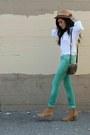 Green-denim-zara-jeans-camel-camel-booties-h-m-boots