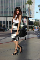 black Bebe skirt - white Nordstrom shirt - black lace up just fab heels