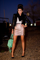 Love skirt - black leather Forever21 jacket - green green hobo bag Target bag