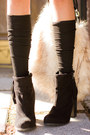 Black-luna-b-sweater-black-suede-booties-forever21-boots