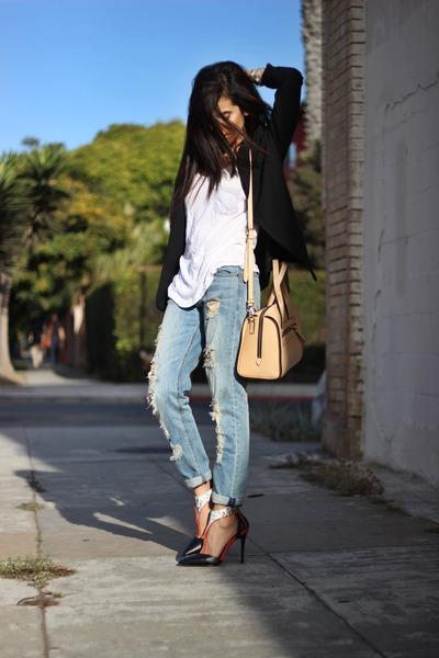 python Shoedazzle heels - boyfriend jeans Nordstrom jeans - black H&M blazer