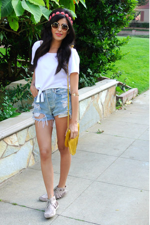 fringe Cut N Paste bag - crop top Monki shirt - Levis shorts