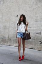 dark brown Twice bag - moto Topshop shorts - red mules Shoedazzle heels