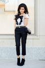 Black-heels-stuart-weitzman-boots-cream-bow-forever-21-shirt