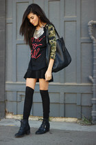 vintage necklace - pink and pepper boots - Lovers and Friends shirt