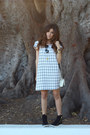 White-checkered-inlovewithfashion-dress-black-aviator-ray-ban-sunglasses