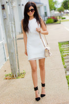 white white Line & Dot dress - black cat-eye Urban Outfitters sunglasses