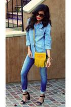 yellow fringe detail Cut N Paste bag - sky blue skinny jeans Zara jeans