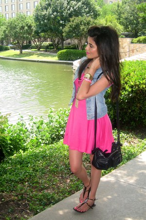 light blue denim vest H&M vest - hot pink summer dress H&M dress