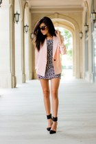 light pink smythe blazer - white Forever21 dress - black strappy Zara heels