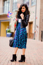 Turquoise-blue-thrifted-vintage-skirt-black-suede-booties-forever21-boots