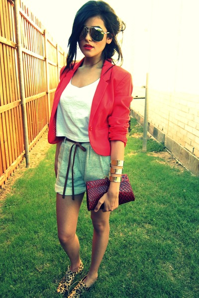 H&M blazer - belted GINA TRICOT shorts - aviators lindex sunglasses - cropped we