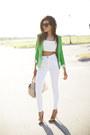 White-guess-jeans-chartreuse-zara-blazer-black-celine-sunglasses