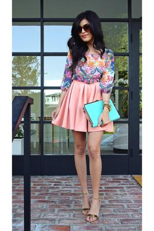 floral Nordstrom Rack shirt - aquamarine clutch Luna Boutique bag