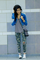violet denim H&M jacket - white Converse shoes