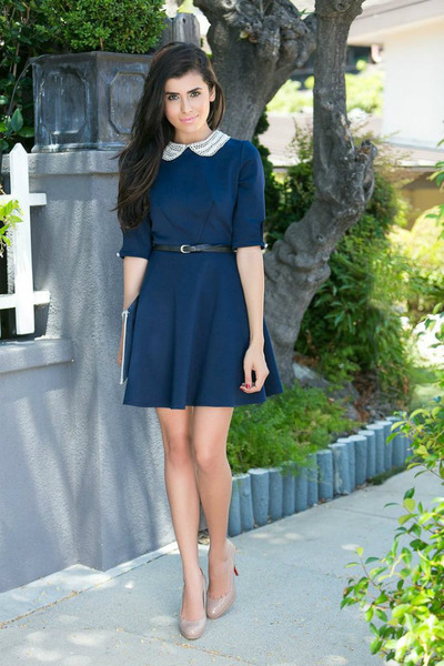 navy Love dress - silver envelope clutch H&M bag