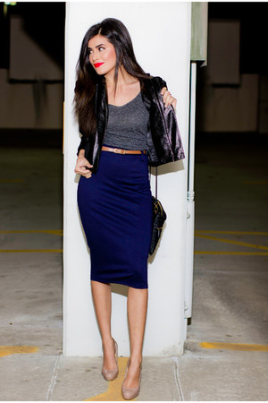 navy pencil skirt Love skirt - black leather jacket Forever21 jacket