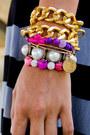 Custom-pink-skulls-bracelet-gold-chain-taro-collection-bracelet