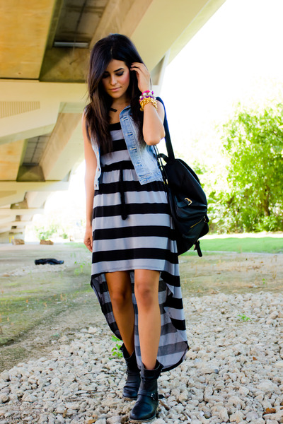 black Forever 21 boots - charcoal gray high-low dress GINA TRICOT dress