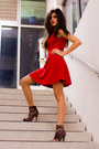 Red-love-dress-leopard-forever21-boots-skinny-gold-vintage-belt