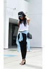 Black-cap-bcbgeneration-hat-black-h-m-jeans-white-plain-white-tee-zara-shirt
