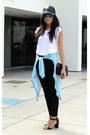 Black-h-m-jeans-black-cap-bcbgeneration-hat-white-plain-white-tee-zara-shirt