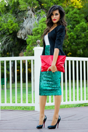 turquoise blue asos skirt - black vintage blazer - red clutch Sammoon bag