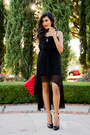 Black-high-low-dress-llove-dress-red-clutch-sammoon-bag