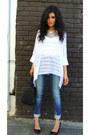 White-bamboo-sunday-rocks-shirt-navy-skinny-jeans-zara-jeans