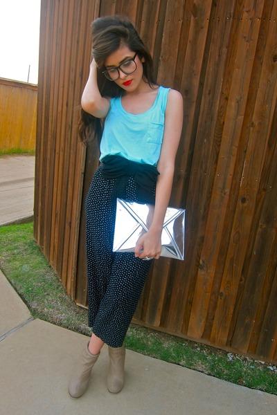 floral pants vintage pants - metallic H&M bag - aqua tanktop Forever21 top