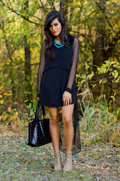 tan beige booties Forever21 boots - black sheer sleeves Luna Boutique dress