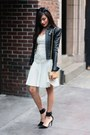 Beige-herve-leger-dress-black-leather-moto-herve-leger-jacket
