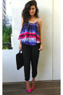 Tie-dye-lovers-and-friends-top-black-harem-pants-asos-pants