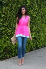 Navy-denim-rich-and-skinny-jeans-hot-pink-sheinsidecom-dress