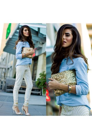 H&M shirt - sequins clutch Society of Chic bag - ZooShoo heels