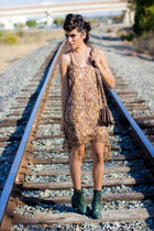 light brown snake skin Luna Boutique dress - green lace up boots Forever21 boots