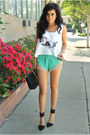 White-crop-tank-sic-apparel-top-black-recherche-bag-aquamarine-luna-b-shorts