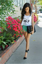 white crop tank SIC Apparel top - black Recherche bag - aquamarine Luna B shorts