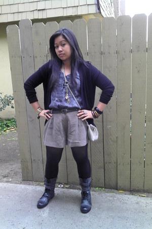 dark khaki Forever 21 shorts - cotton on blouse - black assymetrical cotton on c